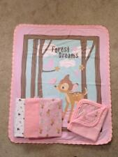 NURSERY CRIB QUILT/SHEET SET- DISNEY'S BAMBI & FRIENDS - FOREST DREAMS IN PINK