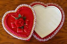 Vintage Heart Candy Chocolate Box Red White Lace Satin Rose Valentines Day Gift