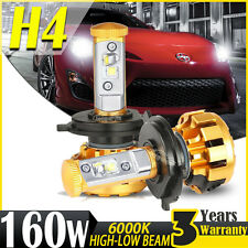 H4 160W 16000LM High-Low CREE LED Headlight Bulb Kit 6000K Motorcycle Conversion