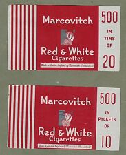 2 diff varieties Old EMPTY cigarette packet labels Red & White RARE  #994