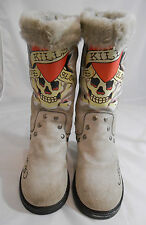Ed Hardy by Christian Audigier Love Kills Slowly Gray Suede Winter Boot Youth 5