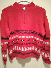 Vintage Tacky Ugly Christmas Sweater - Large Red Ugly Party Jumper w/ Measures !