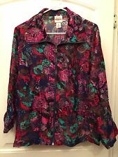 RUBY ROAD Size XL 16 Multicolor Cover Zip Front Jacket Long Sleeved