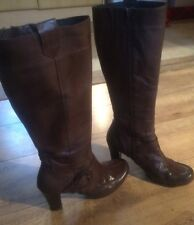 Vintage Brown Leather Heeled Knee High Boots Size 5