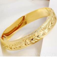 Womens Carved  24k Yellow Gold Filled Oval Bangle Bracelet Jewelry