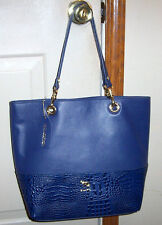 NWT EMMA FOX DEEP BLUE GENUINE LEATHER GOLD GROMMET TOTE BAG PURSE