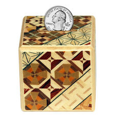 Japanese Wooden Yosegi Magic Puzzle Coin Bank Trick Box HK-035, Made in Japan