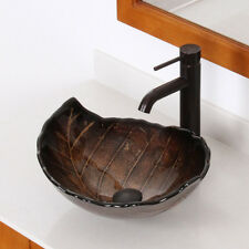 ELITE Bathroom Autumn Leaves Design Glass Vessel Sink & Oil Rubbed Bronze Faucet