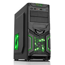 CiT Goblin ATX PC Gaming Case USB 3.0 Black with Green LED Fan and Interior