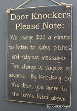 Black Door Knockers Warning Sign No Religion Soliciting Beware Wooden Welcome
