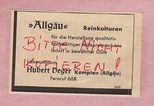 KEMPTEN, Werbung 1950, Hubert Deger Laboratorium Reinkulturen