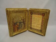 Vintage Florentine  Wood Prayer Card Box A Simple Prayer