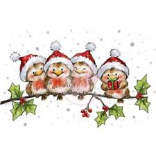 New Wild Rose Studio Clear cling rubber stamp ROBINS ON BRANCH CHRISTMAS WINTER