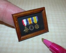 Miniature Walnut Framed WW1 Medals Pip/Squeak/Wilfred DOLLHOUSE Miniatures 1/12