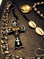 Vtg  Gothic Punk Crosses Crystals Sculls Shells Moon face Costume Jewelry 20pc