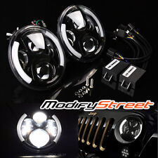 "7"" 80W CREE LED BLACK DRL ANGEL EYE PROJECTOR HEADLIGHTS FOR JEEP JK/TJ/LJ/CJ"