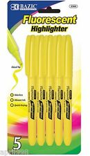 BAZIC 5/pk Yellow Pen Style Fluorescent Marker Highlighter w/ Pocket Clip #2300