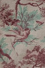 Antique 1880 French bird CURTAIN  printed cotton twill weave upholstery weight