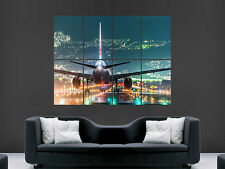 OSAKA AIRPORT AEROPLANE RUNWAY LIGHTS GIANT WALL POSTER ART PICTURE PRINT LARGE