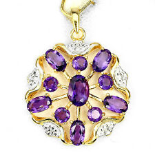Silver 925 14 Ct Gold Plated Genuine Natural Rich Purple Amethyst Pendant