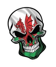 GOTHIC Biker SKULL & Welsh Dragon Wales CYMRU Flag vinyl car bike sticker Decal