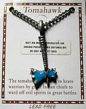 Tomahawk - turquoise and pewter necklace pendant