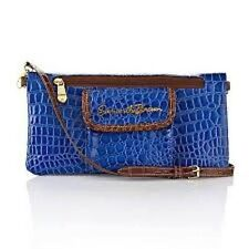 Samantha  Brown Croco-Embossed Convertible Clutch Purse  - Electric Blue