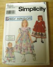 Daisy Kingdom Simplicity Pattern #7003 Girl's Size 3-6 & doll UNCUT