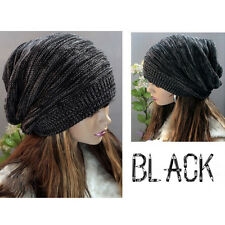 Women Men Knit Hat Winter Warm Baggy Beanie Crochet Oversized Unisex Slouch Cap
