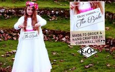 Here Comes the Bride Rustic Wedding Sign Flower Girl Page Boy Bridesmaid