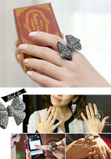 NEW Cute Womens Fashion Style Elegant Trendy Black Bow Bowknot Jewel Ring Size 8