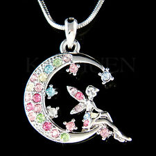 w Swarovski Crystal Rainbow Tinkerbell Tinker Bell ANGEL Fairy MOON Necklace New