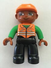 NEW* Lego DUPLO Male ORANGE Vest BLACK Legs ORANGE Construction Helmet DARK SKIN