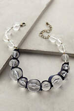 Anthropologie $68 Ribboned Lucite Necklace Navy Jewelry Marble Lobster Clasp New