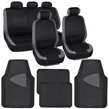 """13pc Seat Covers & Floor Mats for Car Black/Gray w/ Odorless Rubber Mat """"Venice"""""""