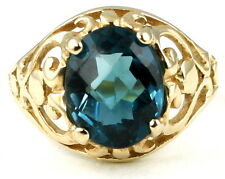 • R004, London Blue Topaz, 10k Yellow Gold Ladies Ring, Size 6 - Handmade