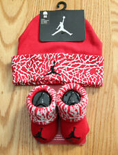 Air Jordan Baby Boy Infant Hat & Booties Set ~ Red, White & Black ~ 0-6 Months