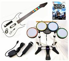 NEW Nintendo Wii-U/Wii ROCK BAND 2 Game Set w/Wireless Guitar Drums bundle kit