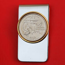 US 2002 Louisiana State Quarter BU Uncirculated Coin Two Toned Money Clip New