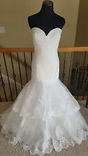 BRAND NEW! Private Collection 18042 Ivory Mermaid Lace Wedding Dress Size 14