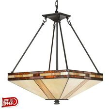 SALE Dale Tiffany Mission 3-Light Antique Bronze Inverted Hanging Pendant Lamp