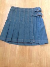 LOVELY PER UNA DENIM PLEATED WRAP MINI SKIRT UK SIZE 10 WORN GOOD CONDITION