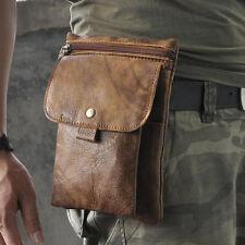 Men Crazy Horse Genuine Leather Messenger Shoulder Belt Fanny Pack Waist Bag New