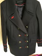 ZARA Navy Blue Wool Military Style Coat with Gold Buttons Large L Jacket