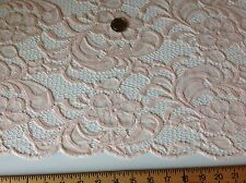 "NEW High Class Designer Peach Stretch Net Guipure Floral Scalp Lace Fabric 60"" O"