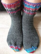 Hand knitted wool blend  socks, charcoal gray + colors