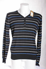 New Men's Y Neck Black Stripe Cotton Jumper - Size Medium New Look BNWT RRP £18