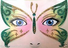 Stick-On Face Art Tattoo Glitter Butterfly & Faux Gems Gorgeous! St Patricks Day
