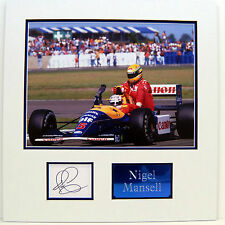 Nigel Mansell Genuine Hand Signed Photo Display Mount Taxi For Senna