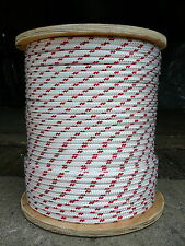"""Sailboat Rigging Rope 5/16"""" x 100' White/Red Double Braided Sheet Halyard Line"""